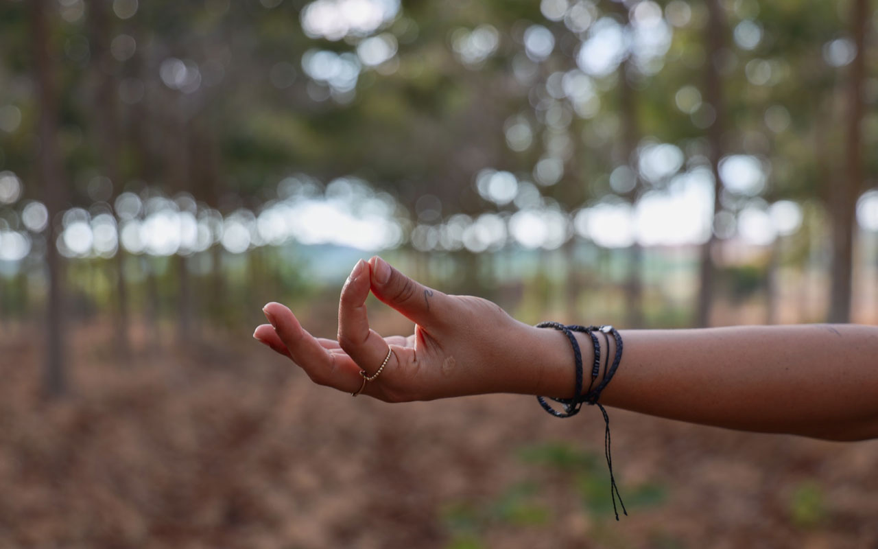 A person's hand creating a mudra with thumb and first finger connected and palm up, against the background of a forest.