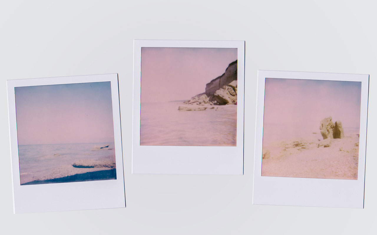 Polaroid photographs of a beach. Photographic memory is considered the ability to close your eyes and see an object perfectly.