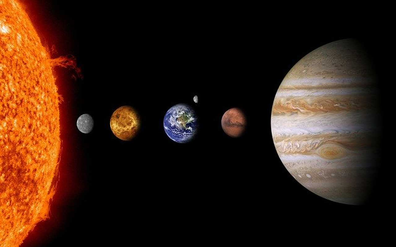 The first five planets of the solar system.