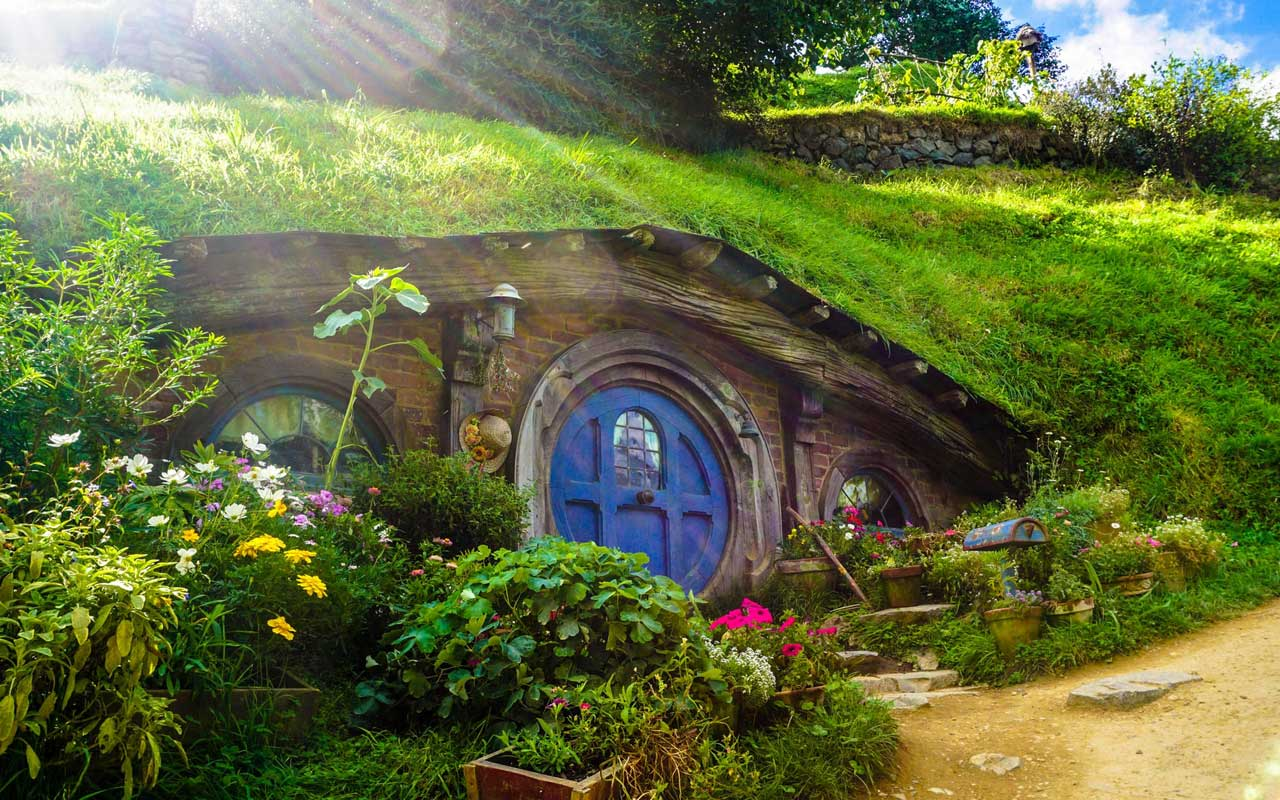 A Hobbit house from the set of The Lord of the Rings movies. You could use Hobbiton as your location for the story method.