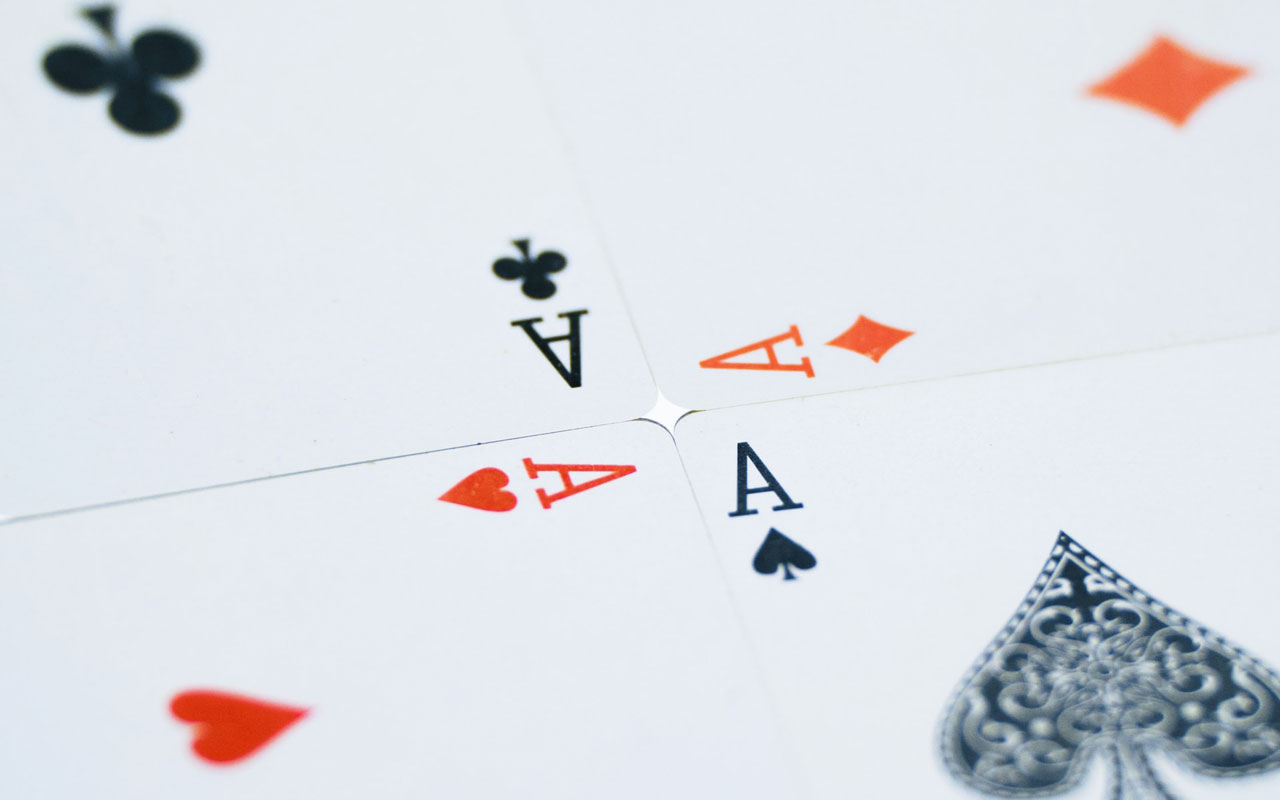 Four Aces out of a deck of cards. A deck of playing cards is very useful for learning memory techniques.