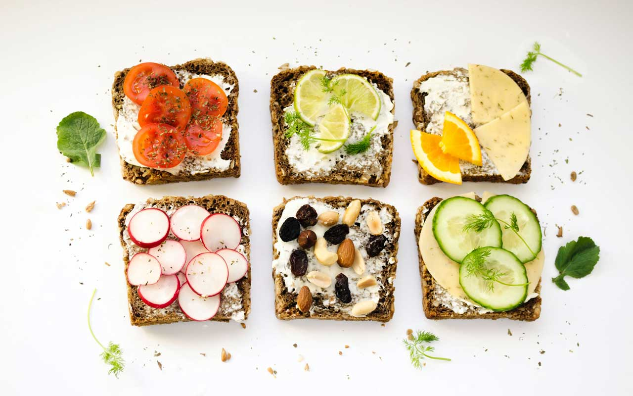 Six open-faced sandwiches with different toppings, including tomato, cheese, and cucumber. Your shopping list is a time when you might need to memorize a list of random words.