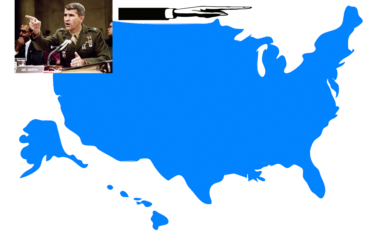 United States Map with Oliver North to illustrate how to remember the States
