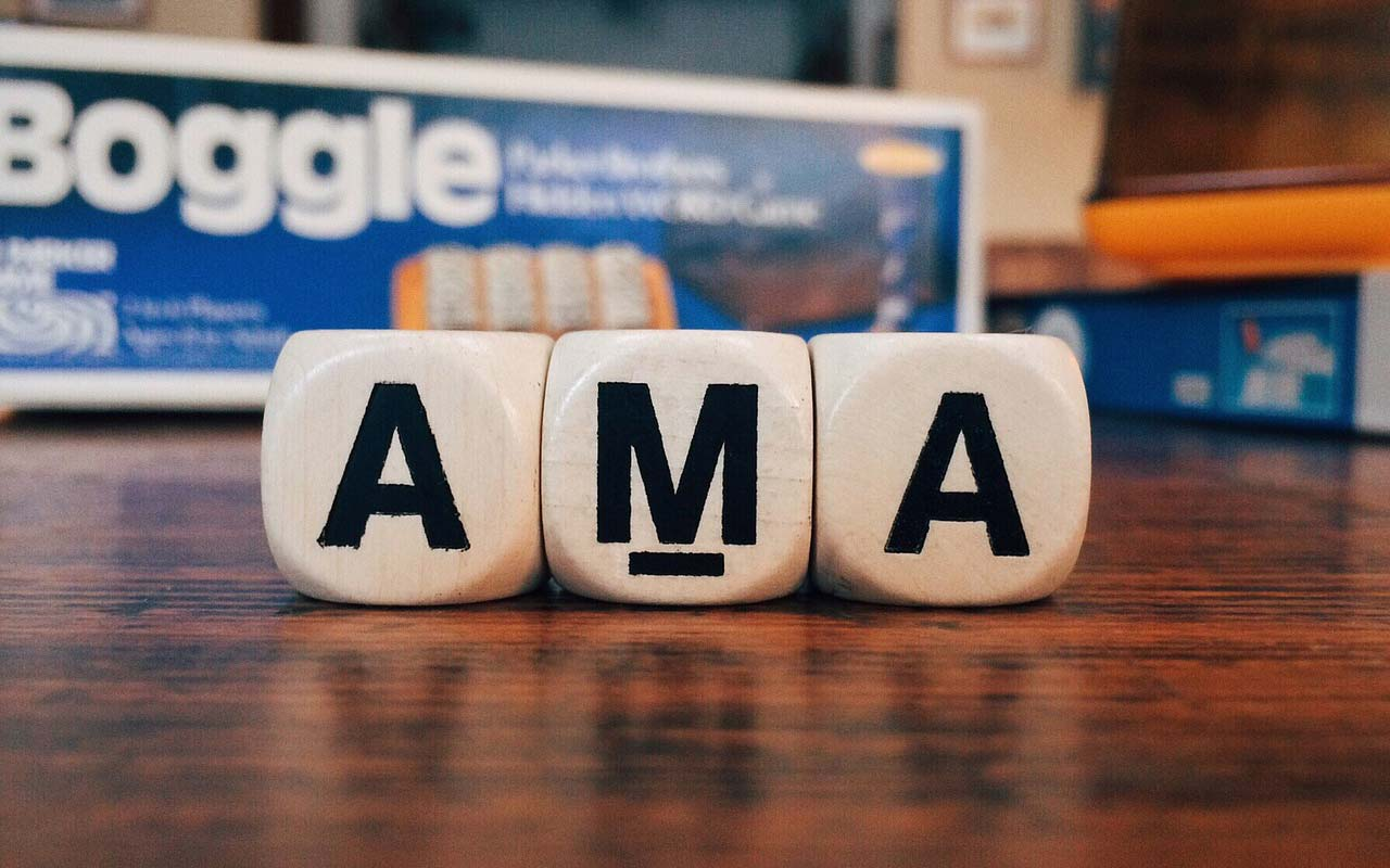 "3 letter blocks spelling out the acronym ""AMA"" - an example of an abbreviation."