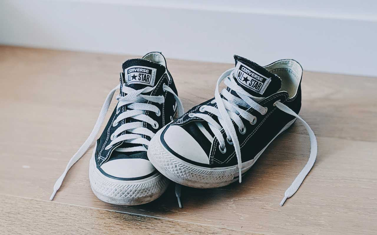 A pair of Converse All Star sneakers. Lace up your shoes and get moving to improve your memory.