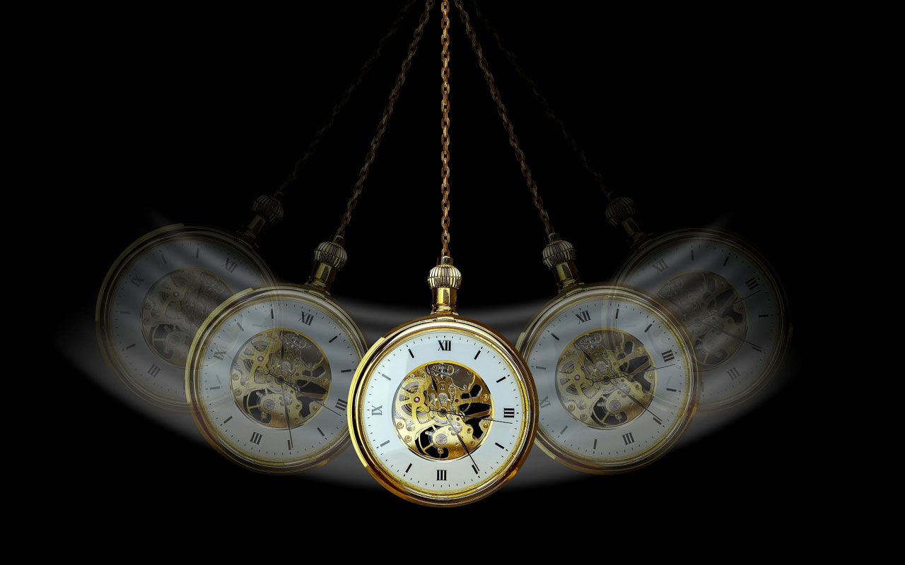 A swinging pendulum (pocket watch) used for guided visualizations like hypnotism.
