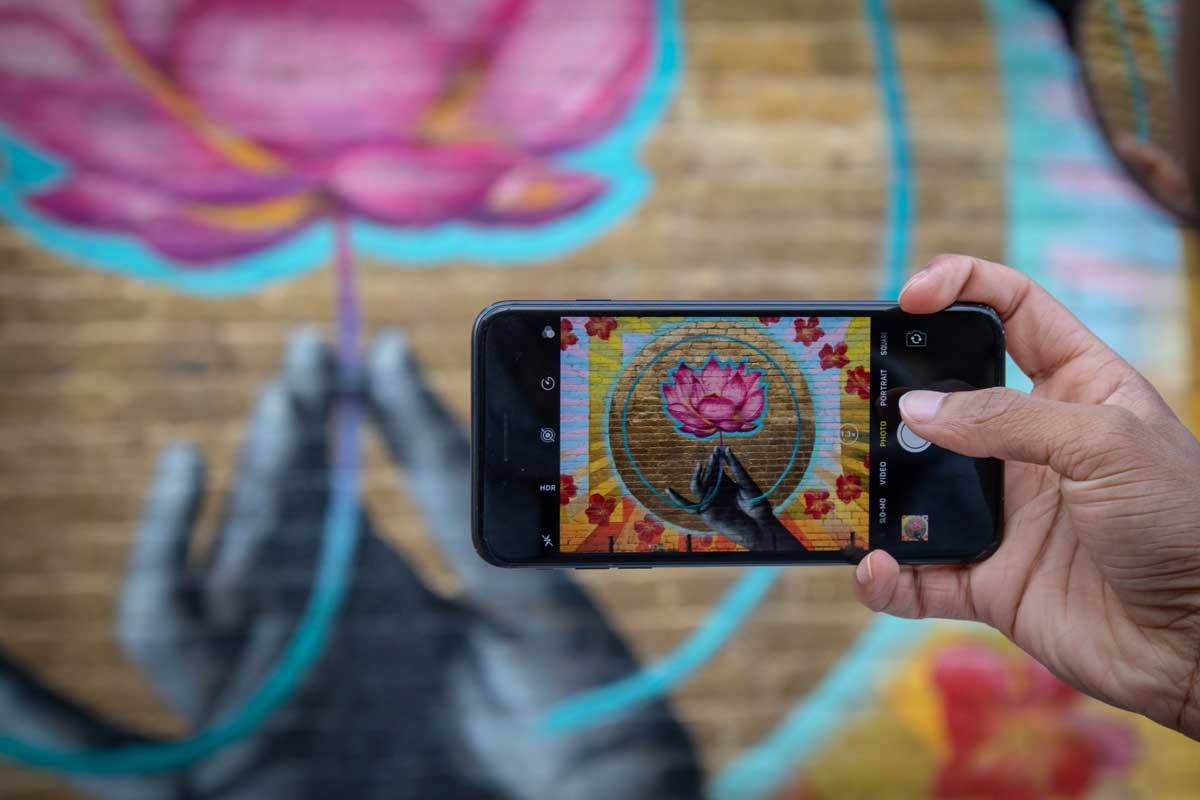 A person holds up a phone to take a picture of a lotus flower mural painted on a wall.