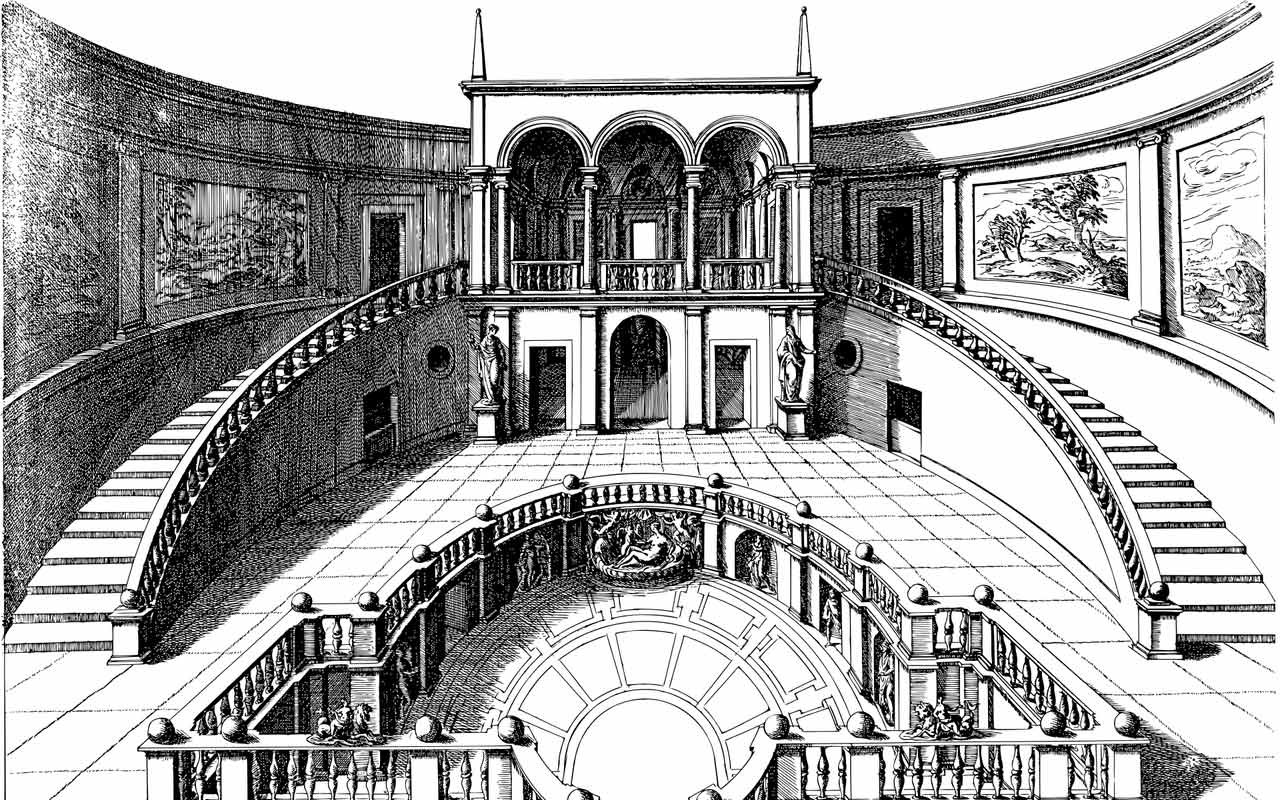 A black and white image of a Memory Palace, which can be used to retrieve information in your memory.