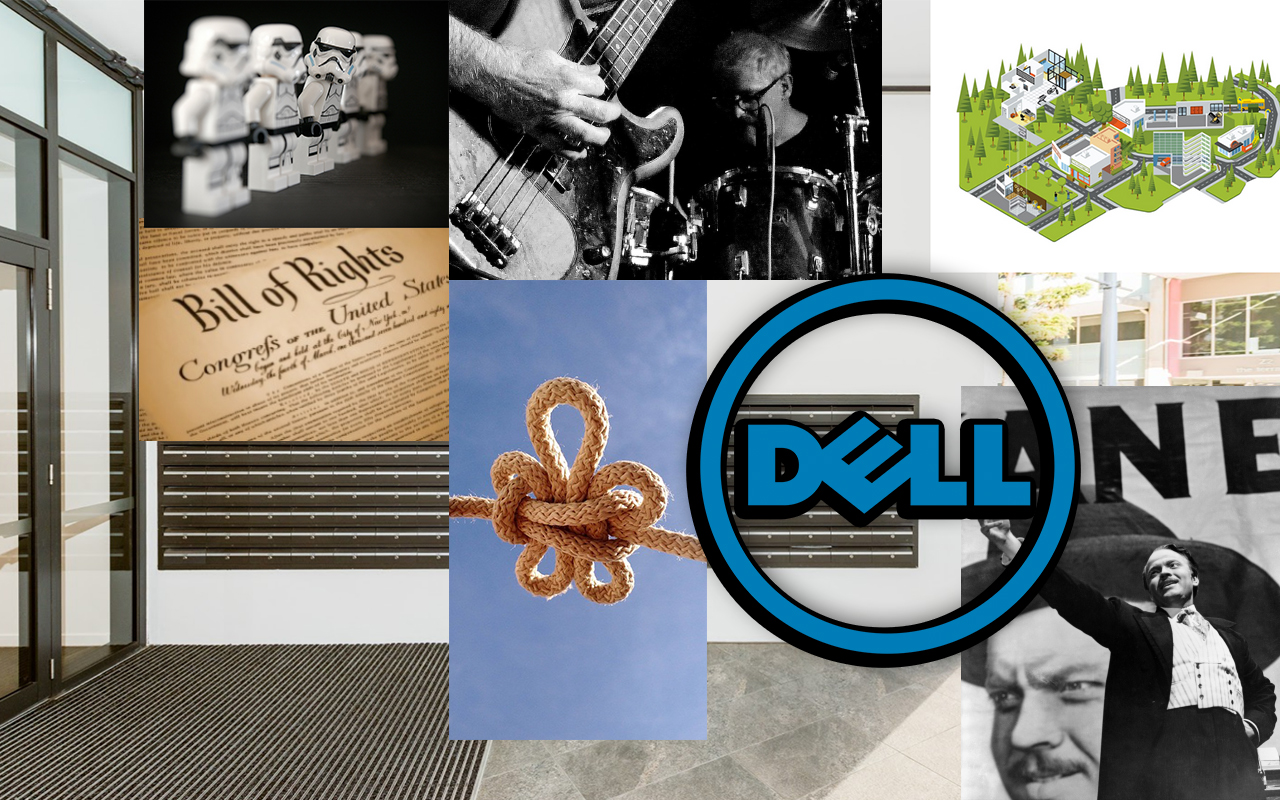 A collage of images; lego Star Wars troopers, the Bill of Rights, a knot, the Dell logo, a memory palace, the Wright brothers from NoMeansNo, a movie poster for Citizen Kane.