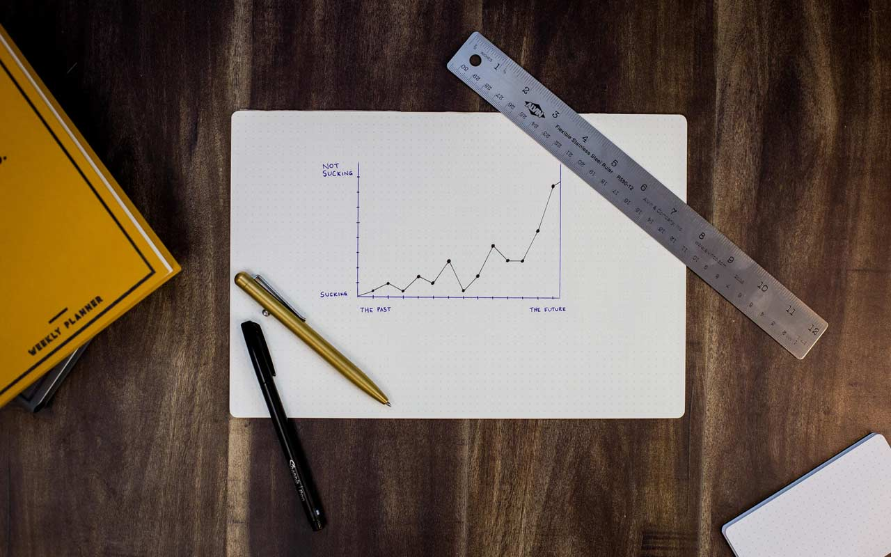 A chart drawn on graph paper sits on a wooden surface, with a ruler and two pens.