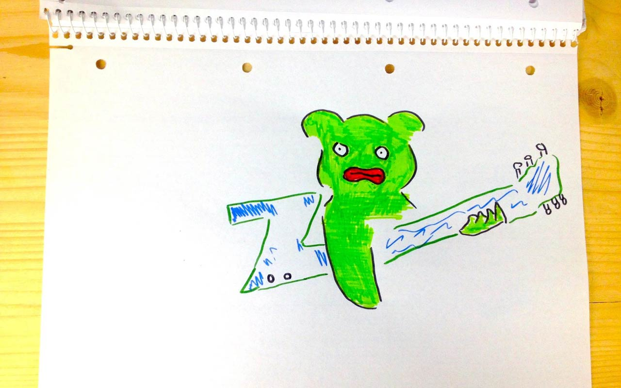 An illustration Anthony drew with a green creature playing a Z-shaped guitar.