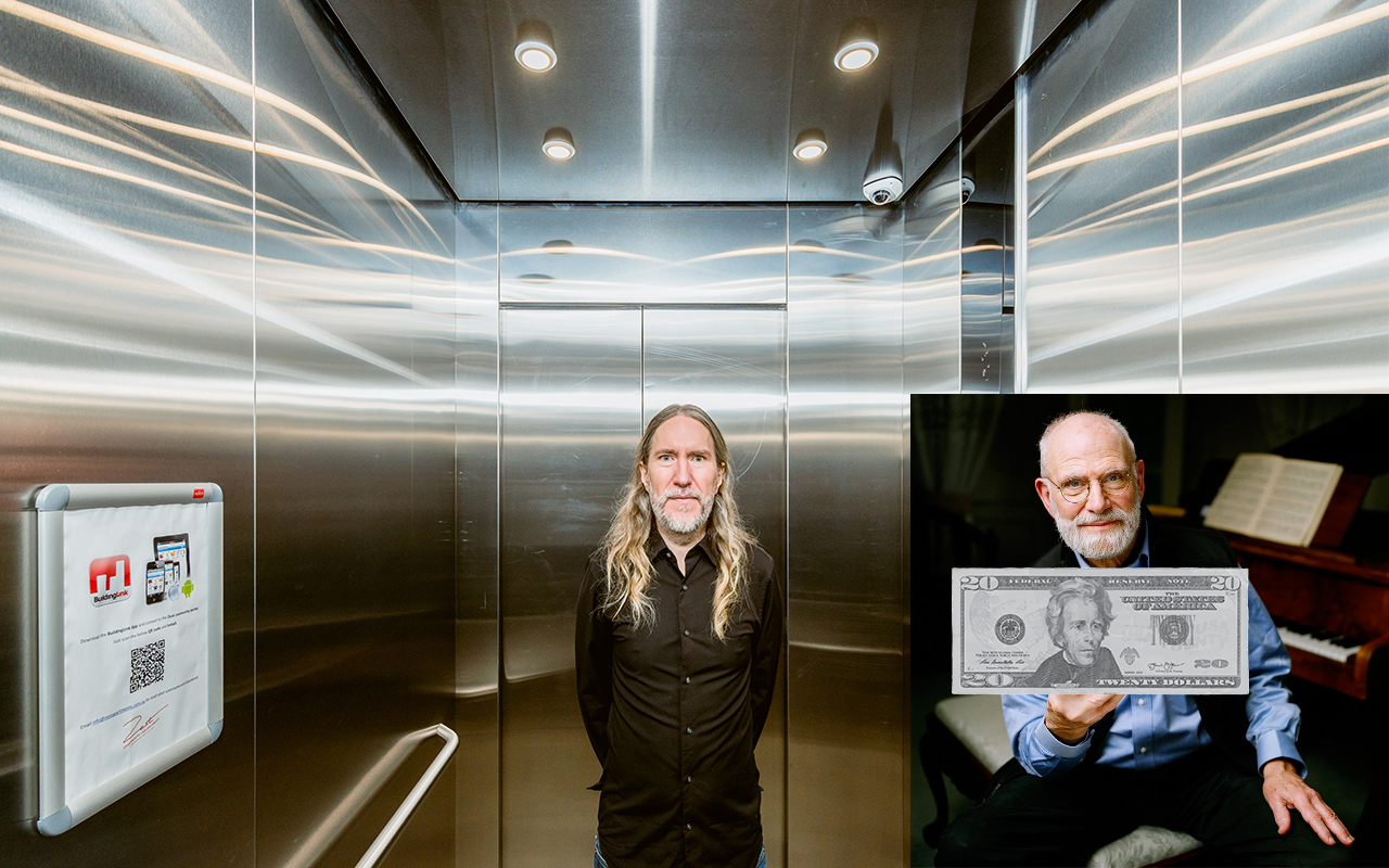 Anthony in an elevator with Oliver Sacks, who is holding a $20 bill.