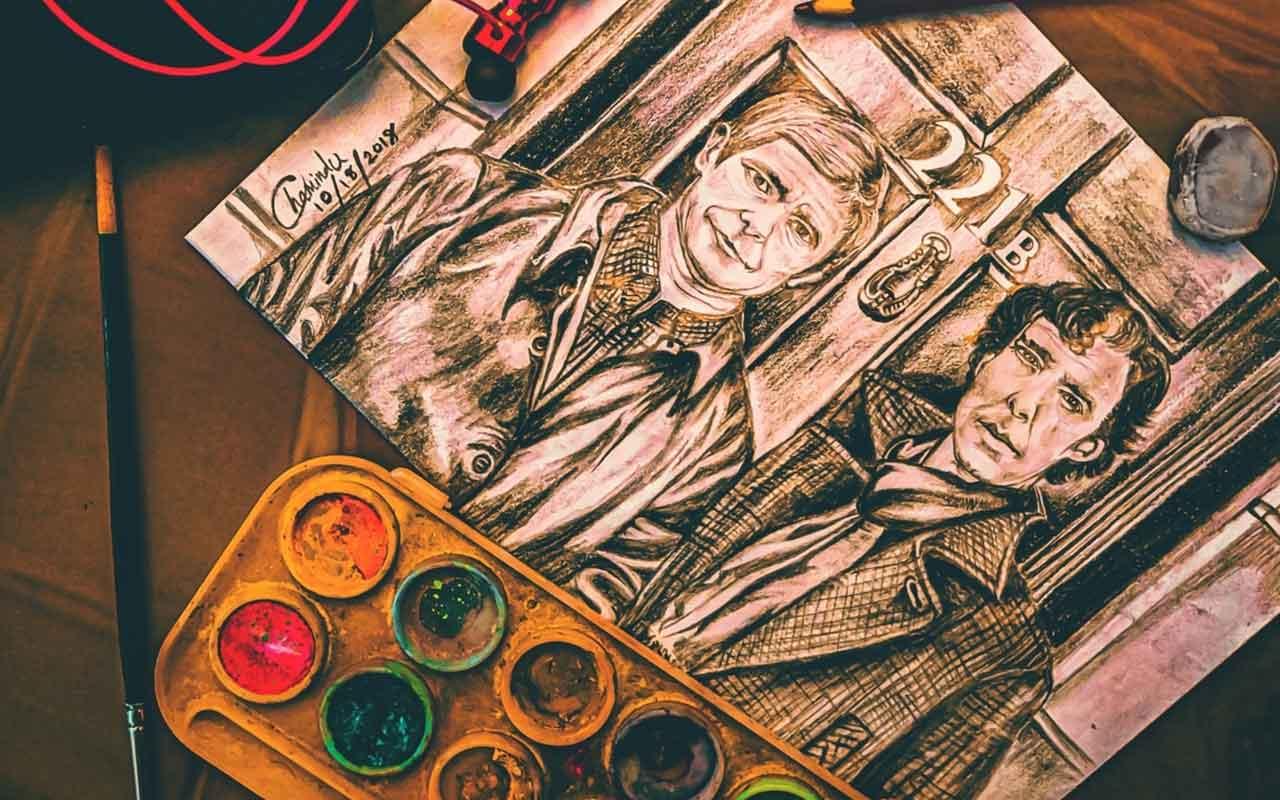 An ink drawing of Sherlock Holmes and John Watson.