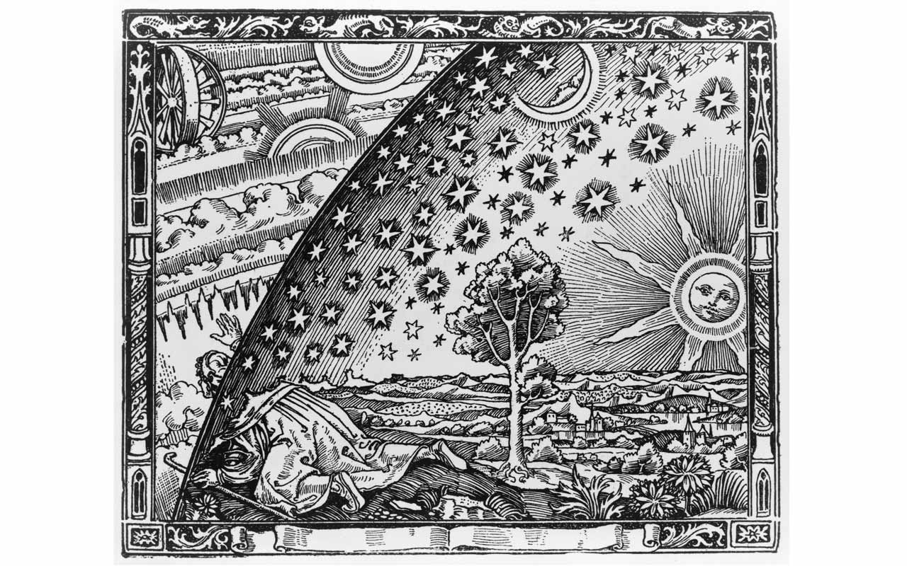 A Flammarion woodcut of Giordano Bruno looking out beyond the known solar system. Bruno likely didn't have trouble with how to remember the planets.
