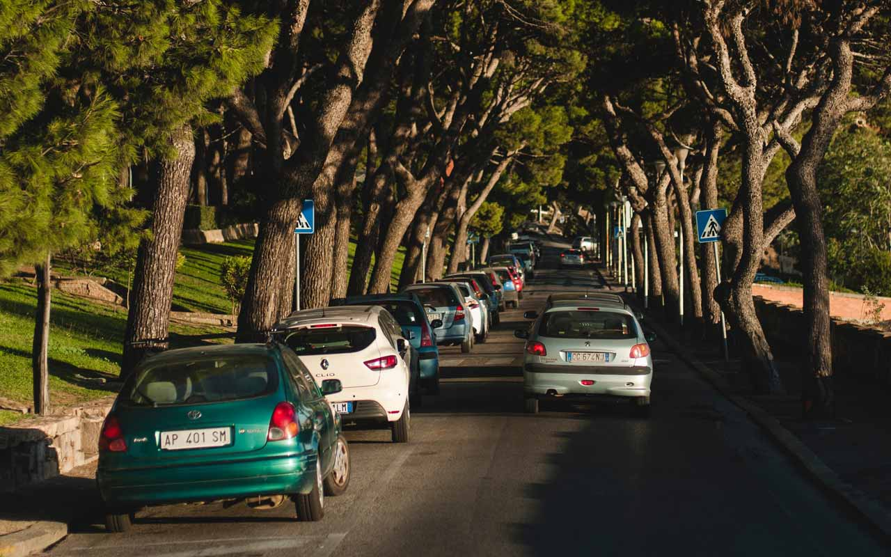 Cars parked along a tree-lined street.