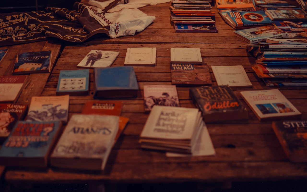 Books laid out on the floor