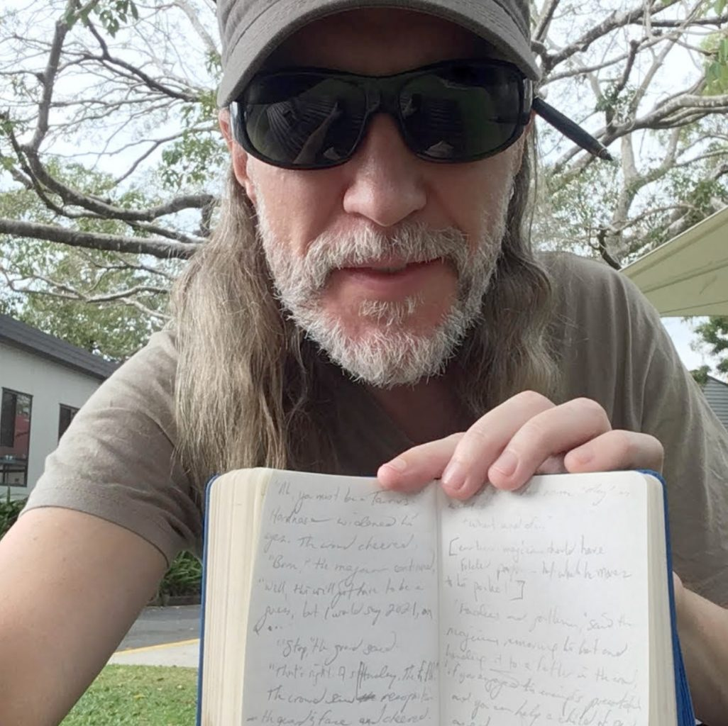 Anthony Metivier with journal