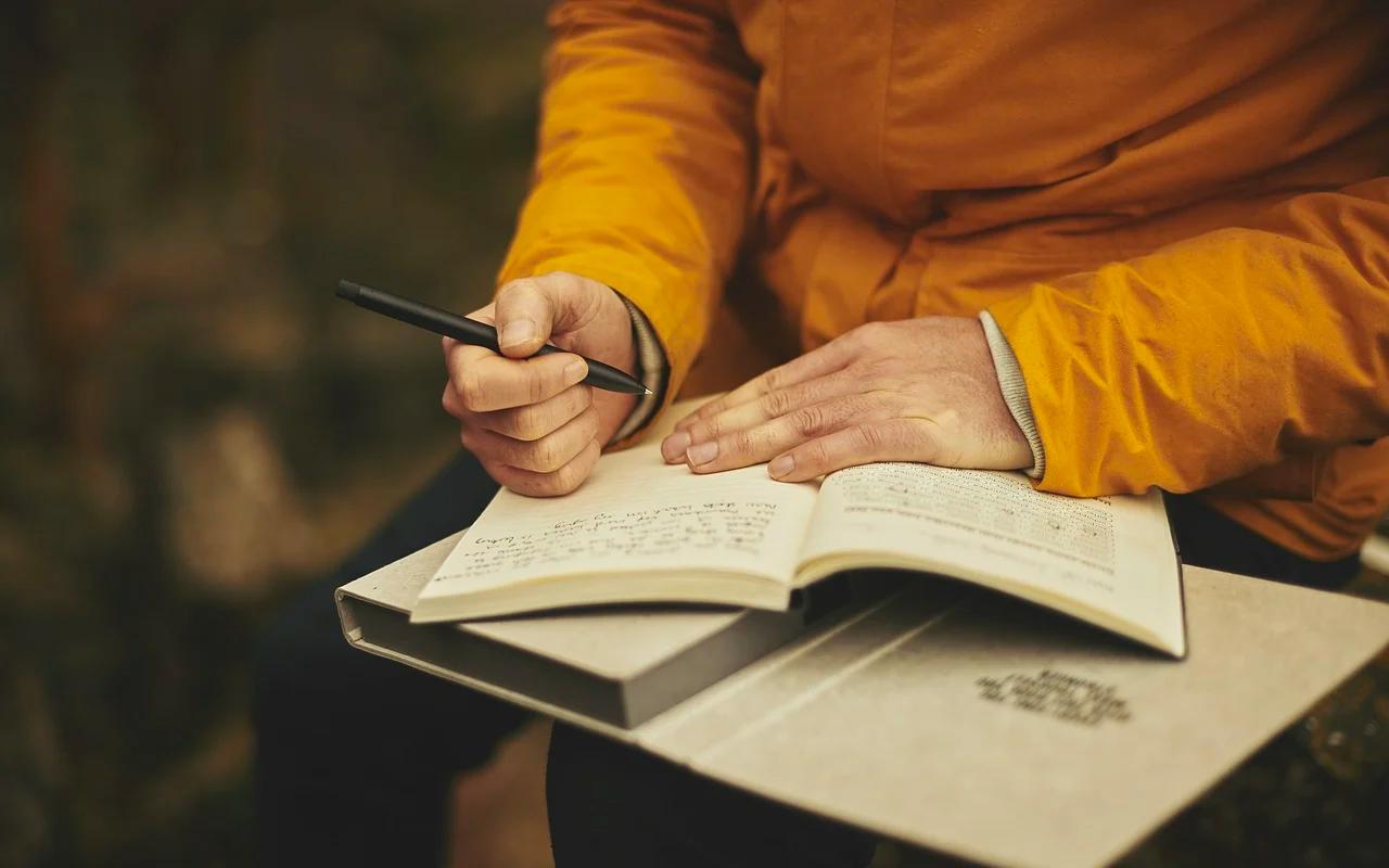 A woman keeping a journal