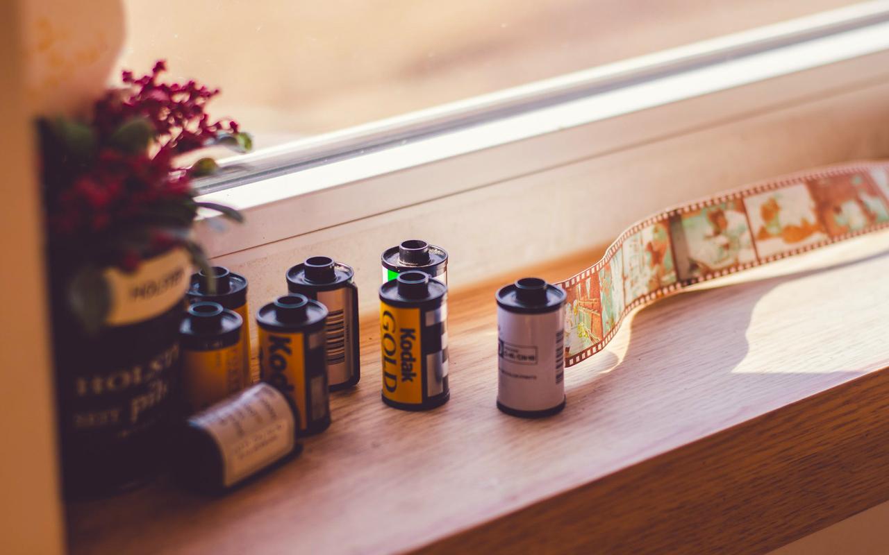 film rolls on a desk