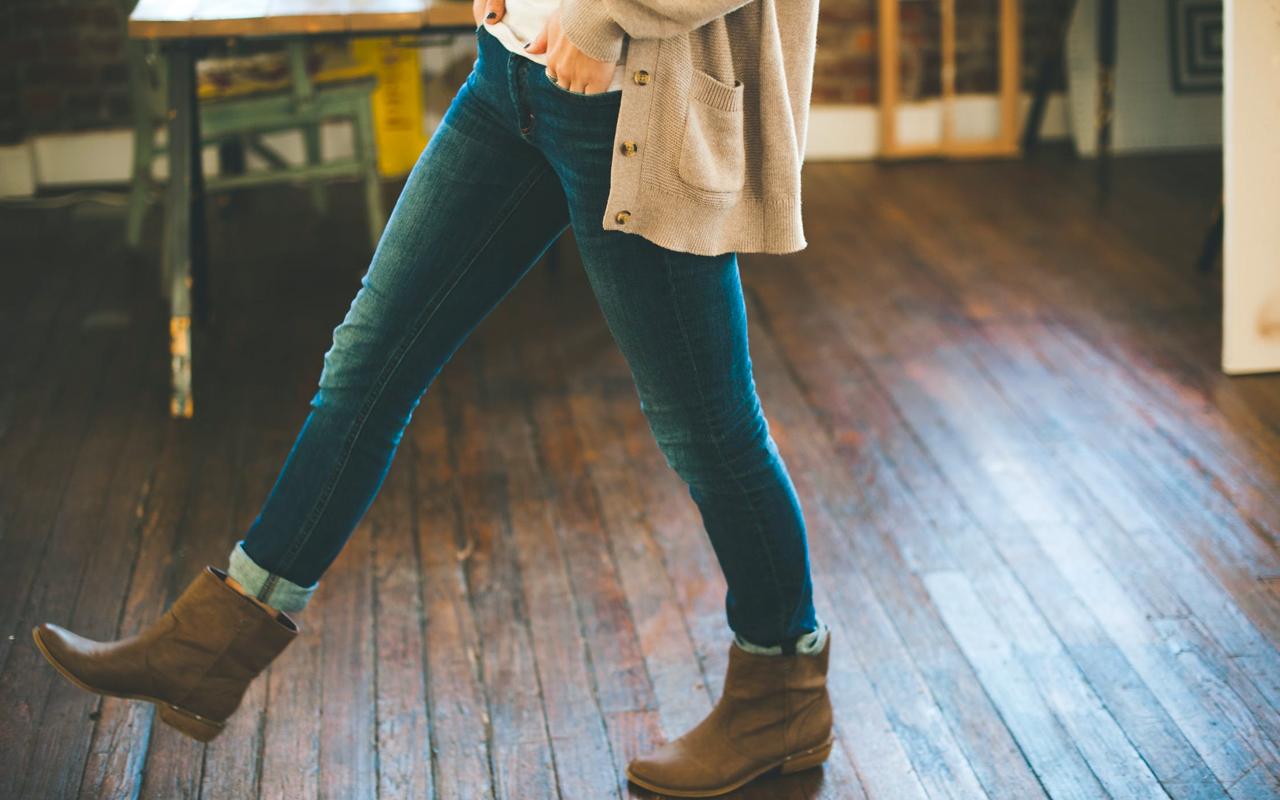 woman taking a step forward