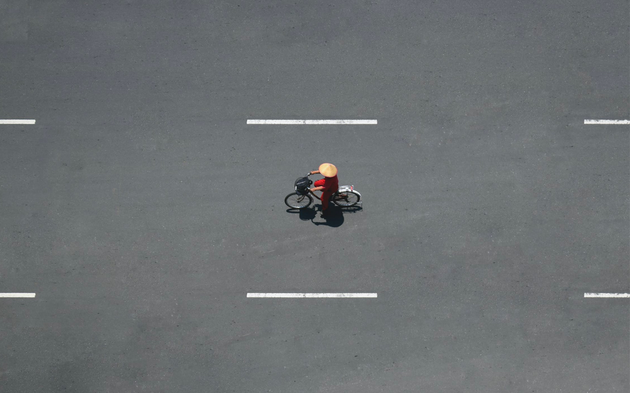 a person is riding a bicycle