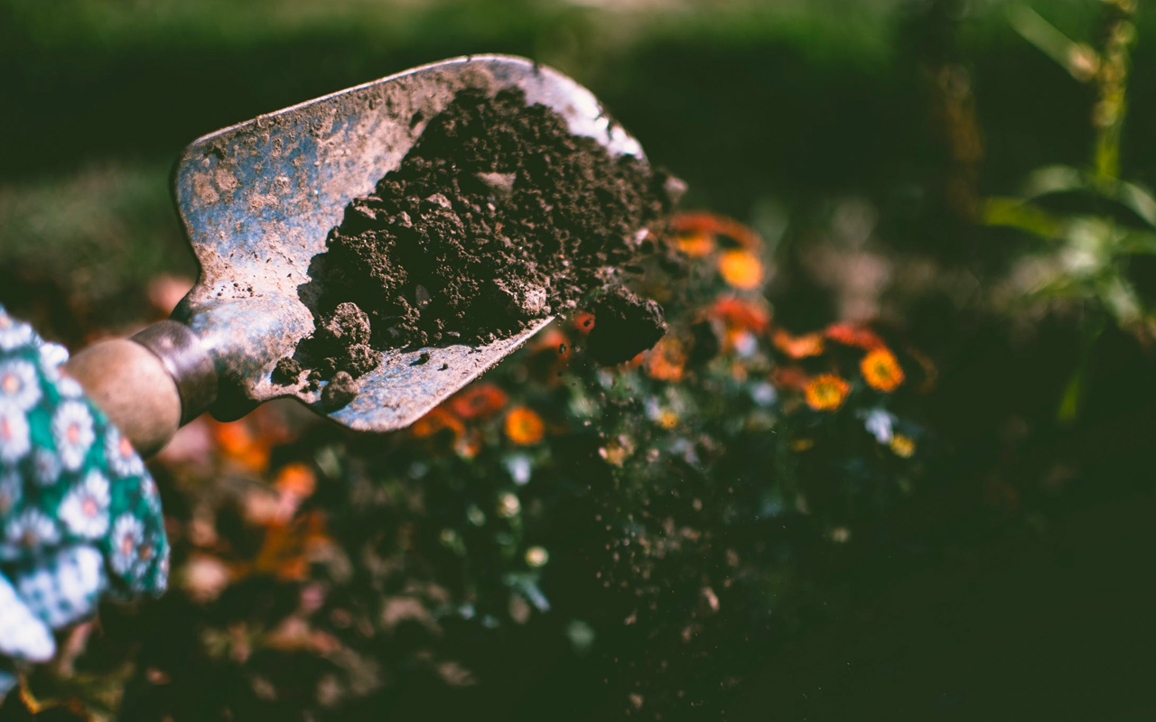 a spade and soil