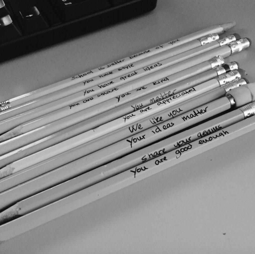 pencils on a desk
