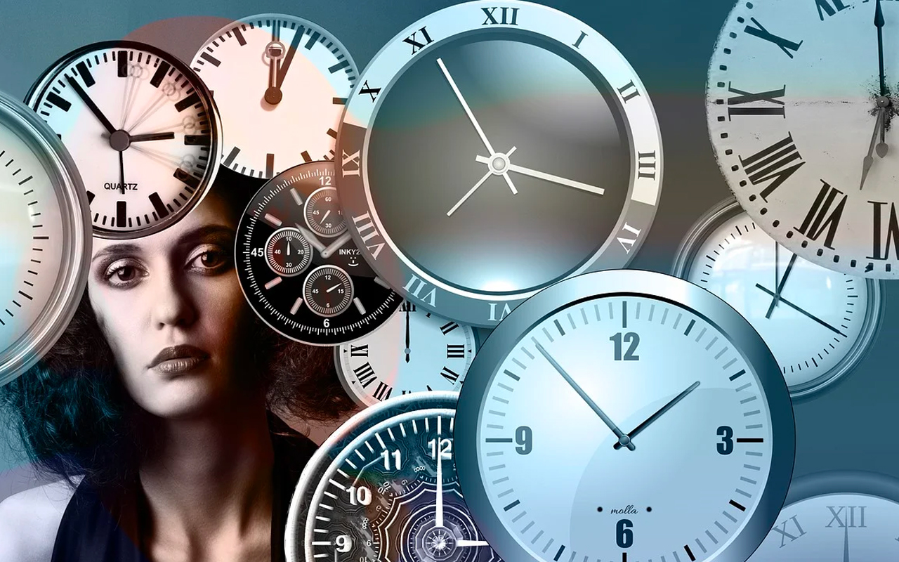 a woman and clocks