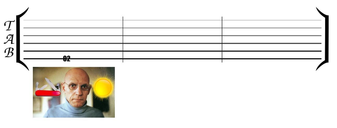 example of fretboard memorization using tablature