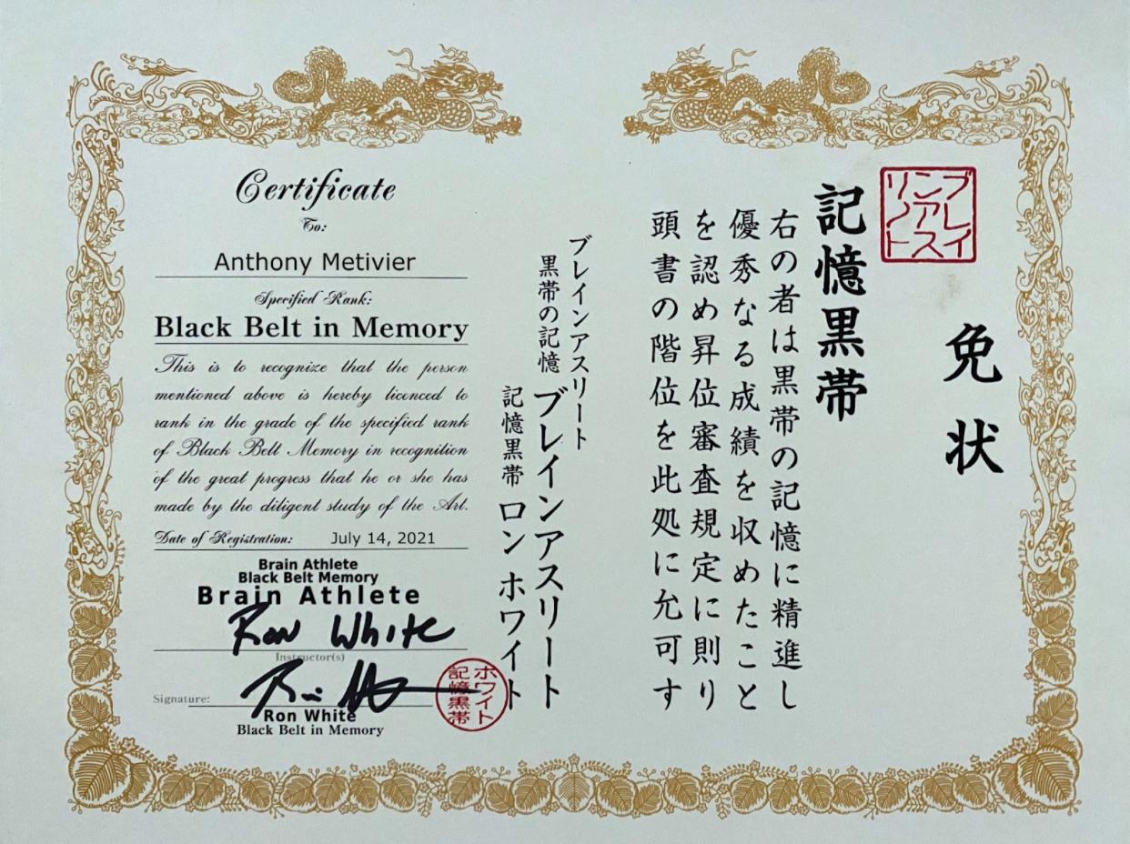 ron white black belt memory certificate for anthony metivier