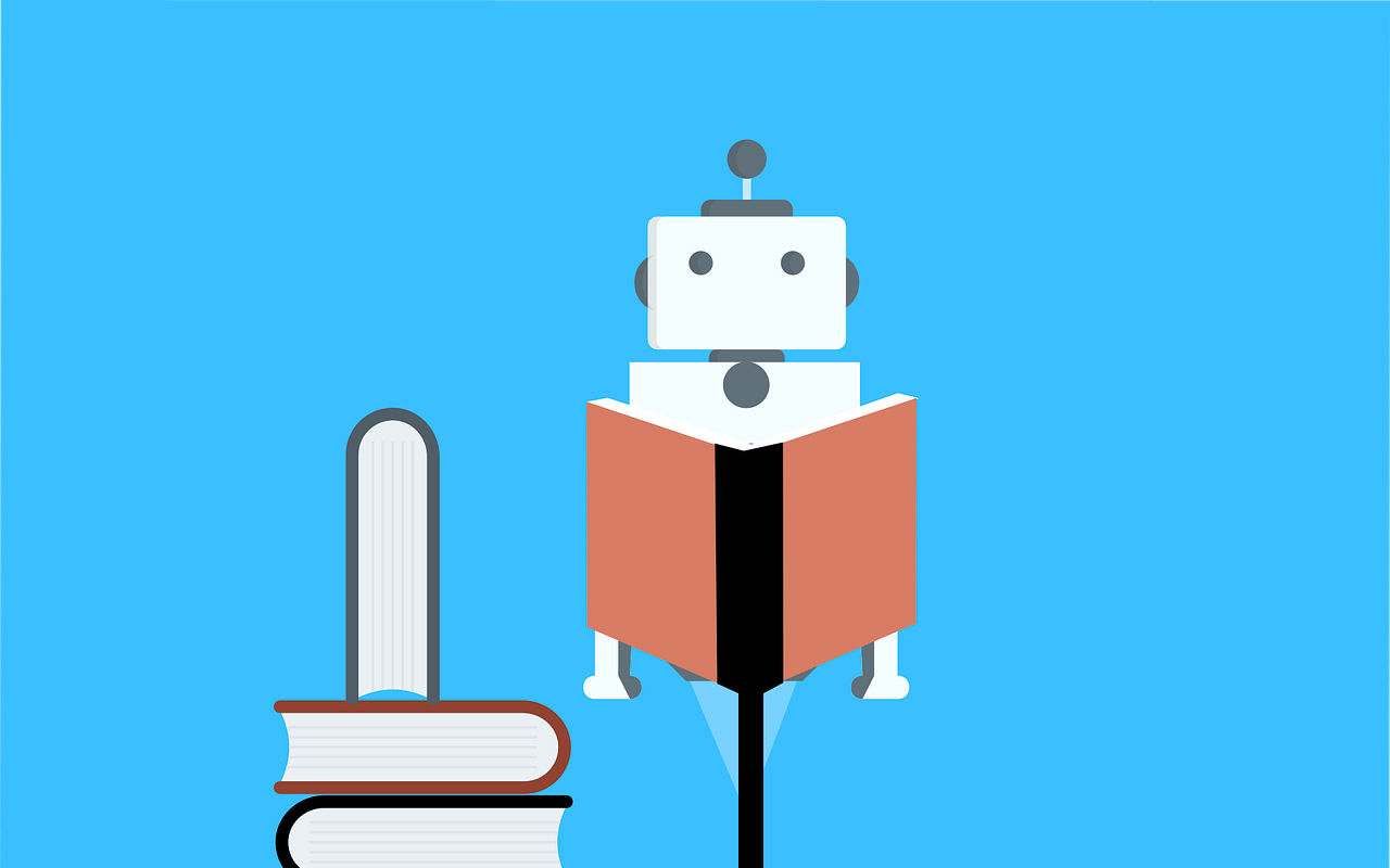 a robot is reading books