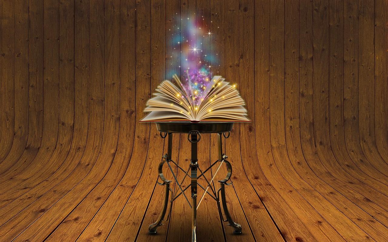 a magic book on a desk
